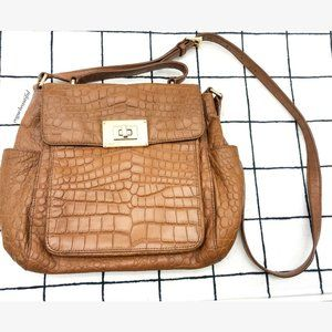 Michael Kors Brown Croc Embossed Crossbody